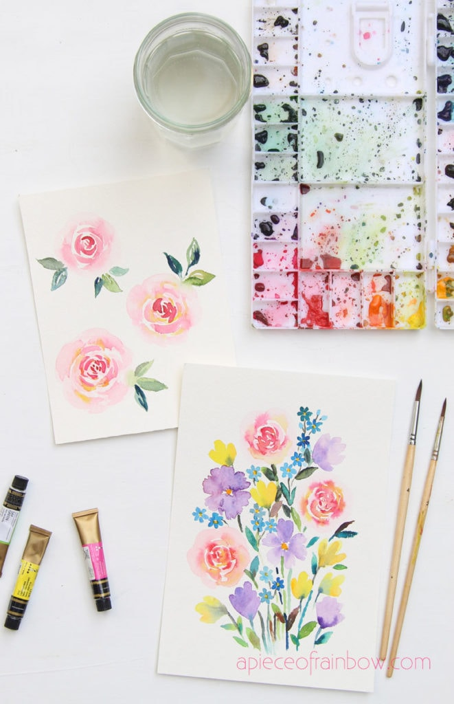 loose watercolor flowers painting with  paint palette and paper