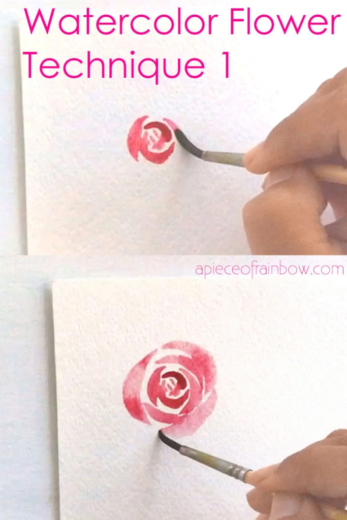 painting watercolor rose from center