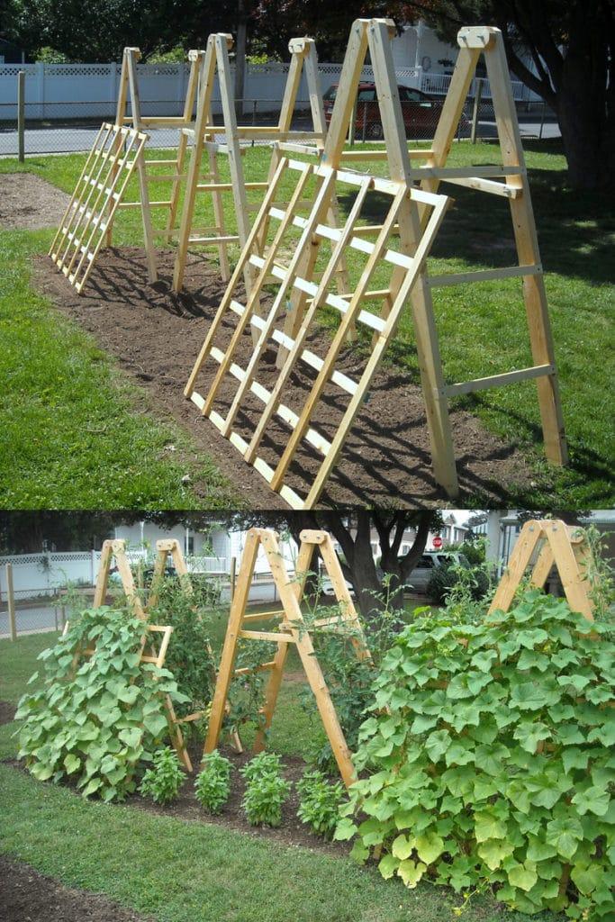 Wood panel garden trellis