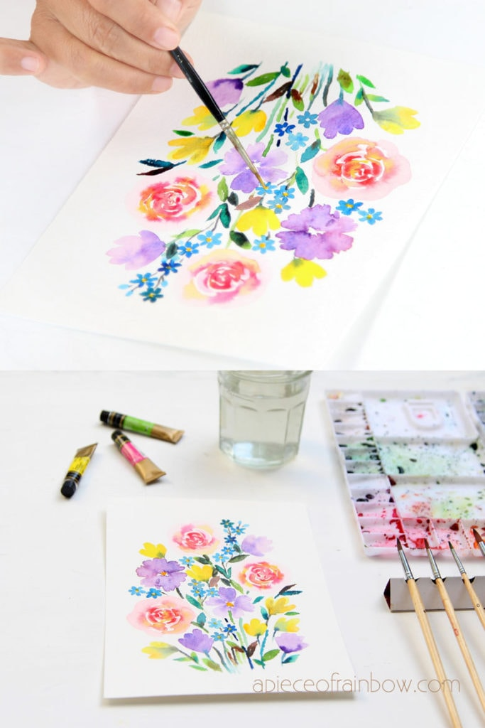 Make a beautiful watercolor flower painting in 30 minutes! Easy tutorial & video for beginners. Lots of tips & techniques to paint loose floral watercolors.