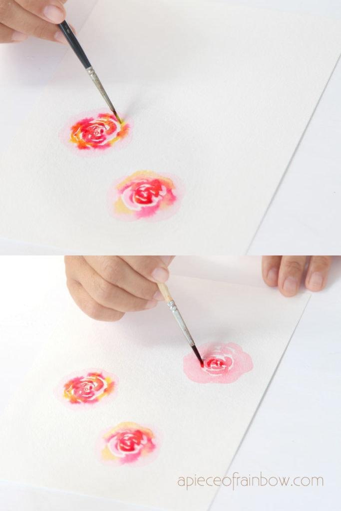 painting loose watercolor flowers wet in wet