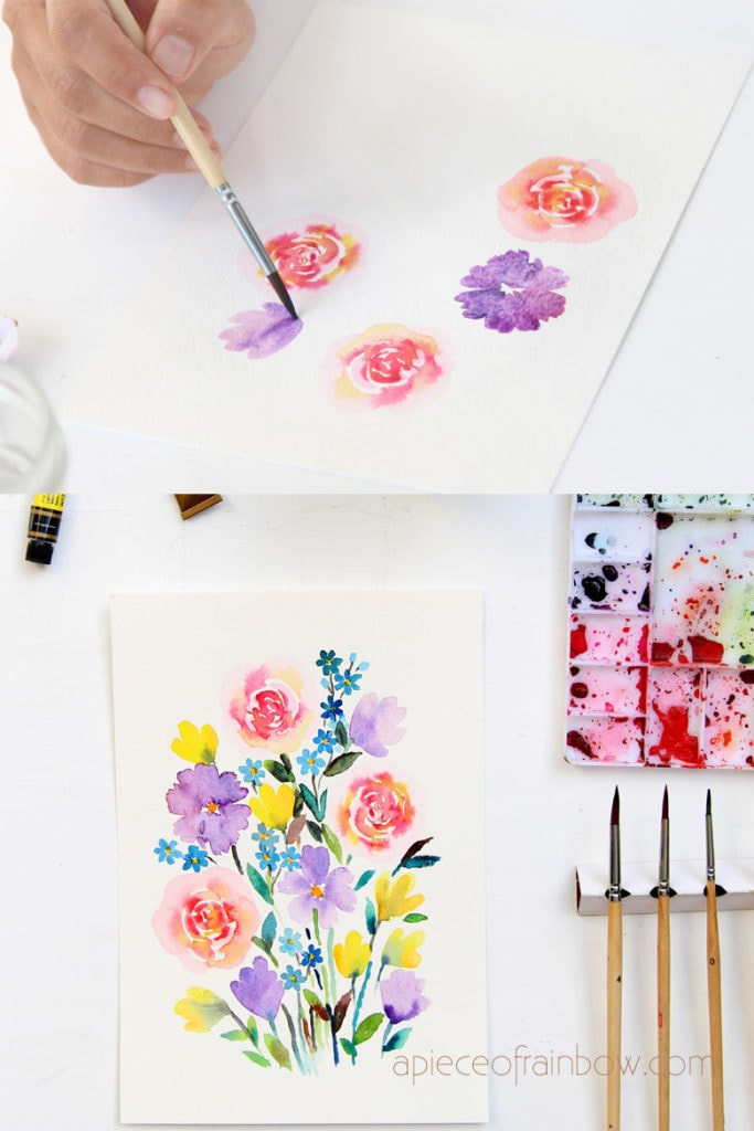step by step tutorial on how to paint  watercolor flowers