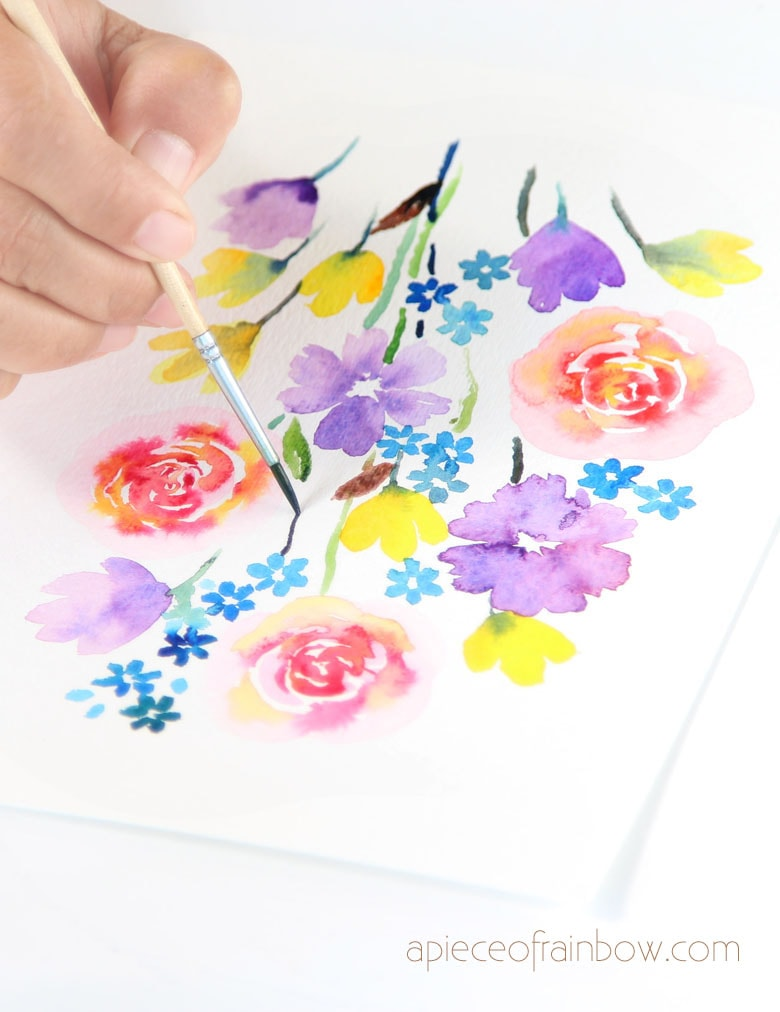 add stems and leaves to our loose floral watercolor