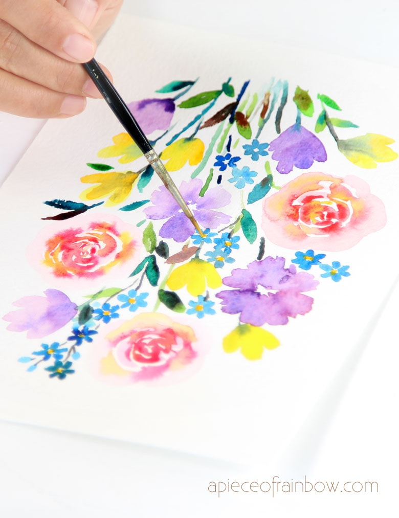 Mixed watercolor flowers tutorials