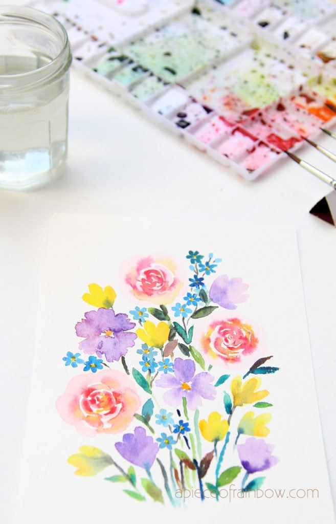 Easy tutorial & video for beginners. Make a beautiful watercolor flower painting in 30 minutes!