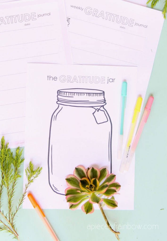 Gratitude Jar Journal template for kids