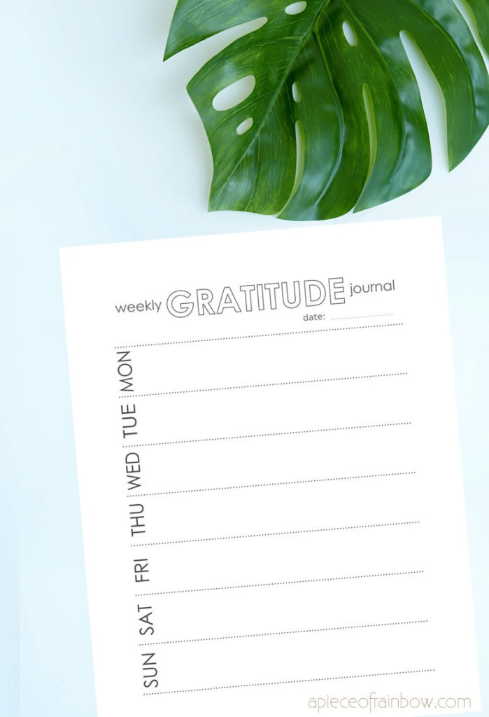 weekly Gratitude Journal Templates