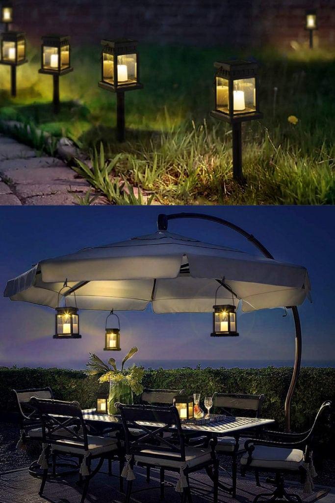 Umbrella outdoor lighting