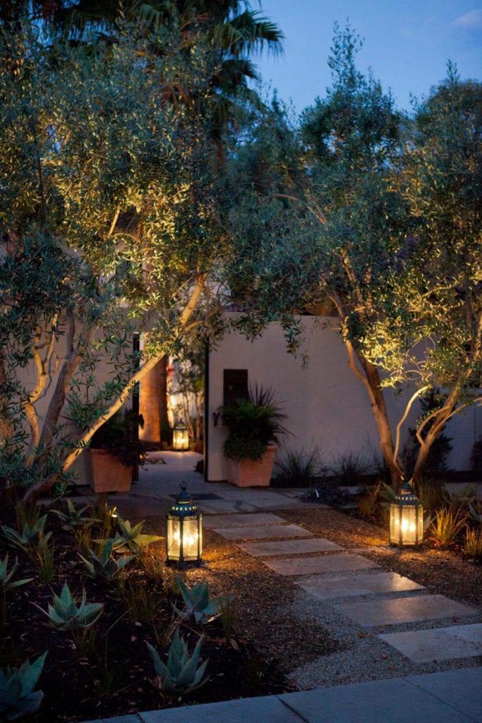 Outdoor lanterns along walkway