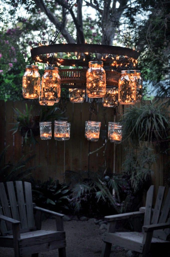 bohemian farmhouse mason jar garden chandelier