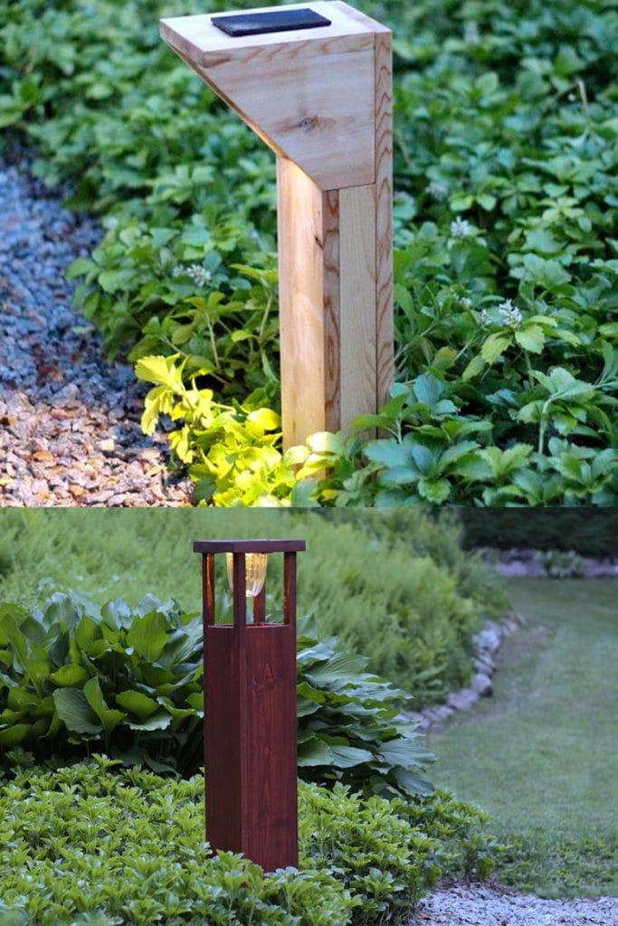 DIY wood bollard solar pathway lights