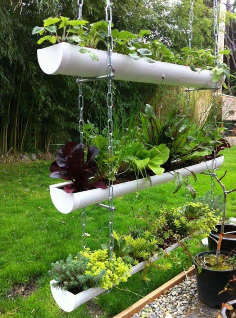 hanging rain gutter planters