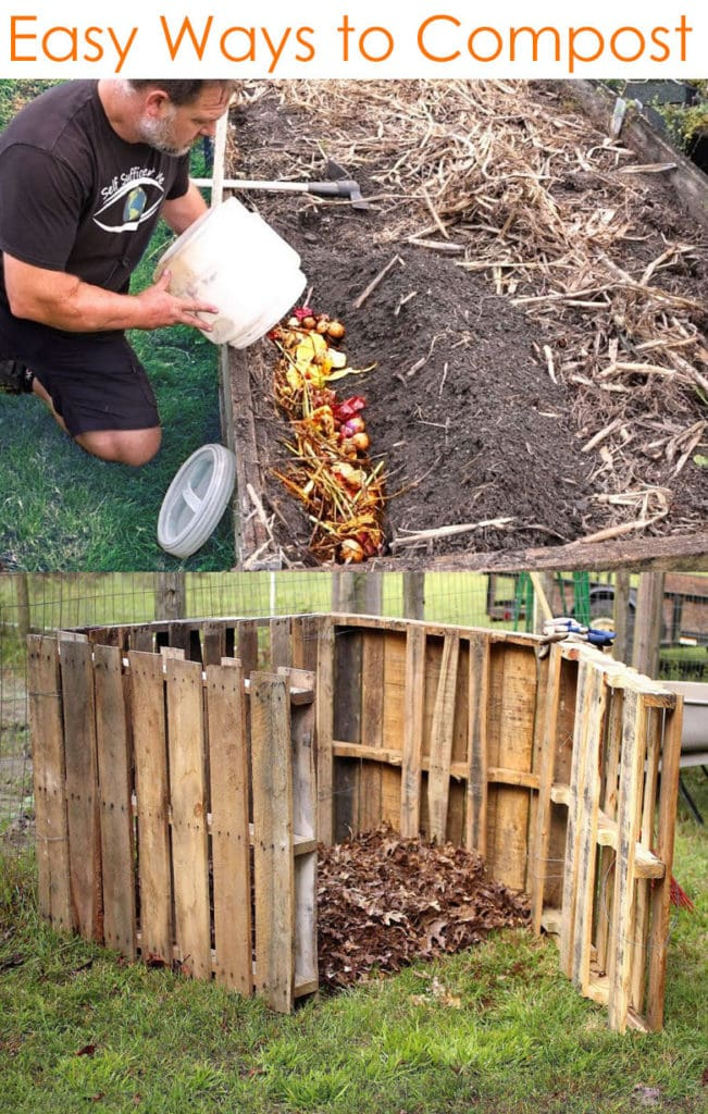 how to compost : direct dig in method and pallet compost bin