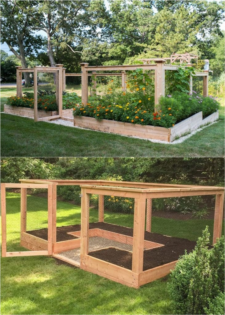 simple and attractive raised bed with fencing