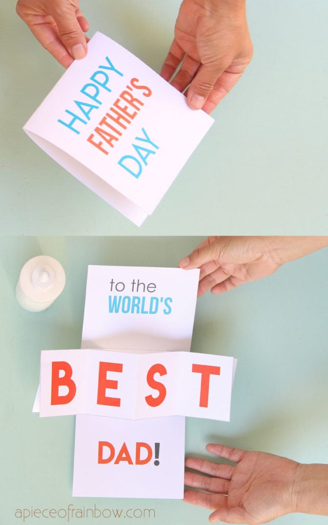 Unique DIY twist & pop up Happy Father's Day Card  with free printable templates