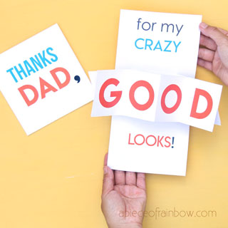 Surprise dad with a fun & creative 10-minute DIY pop up Father's Day card. Also a great birthday card idea. Easy tutorial & video with free printable templates!
