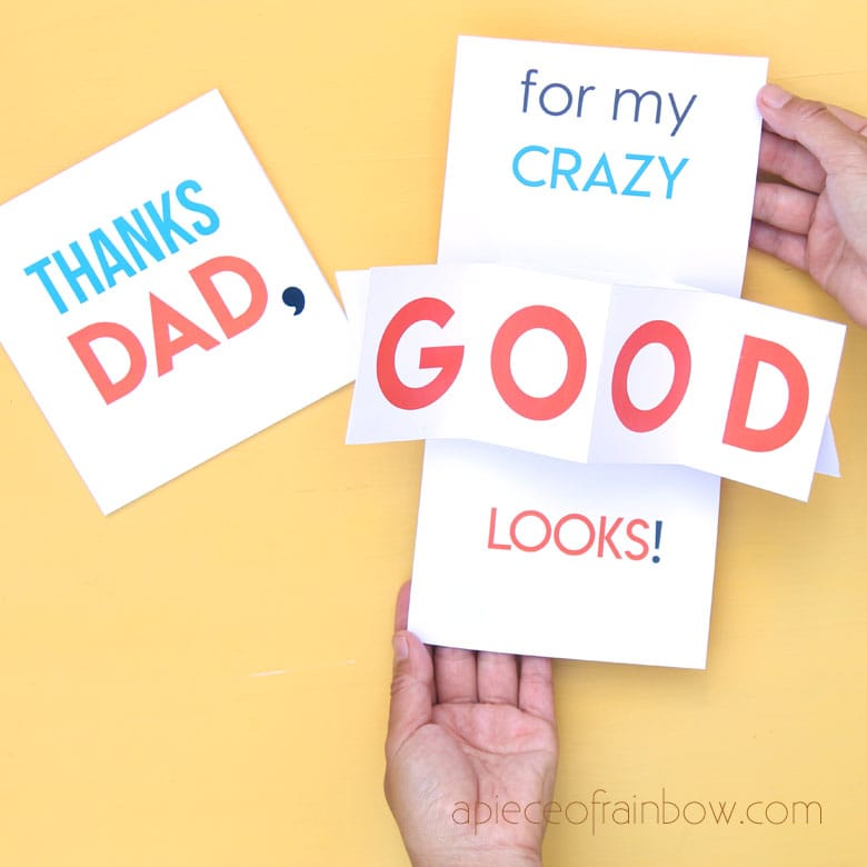 funny DIY twist & pop up Happy Father's Day Card or birthday card for dad