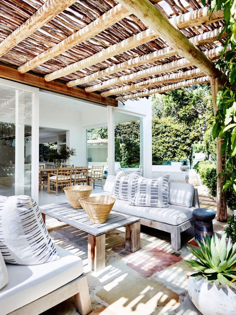 white modern patio with shade pergola