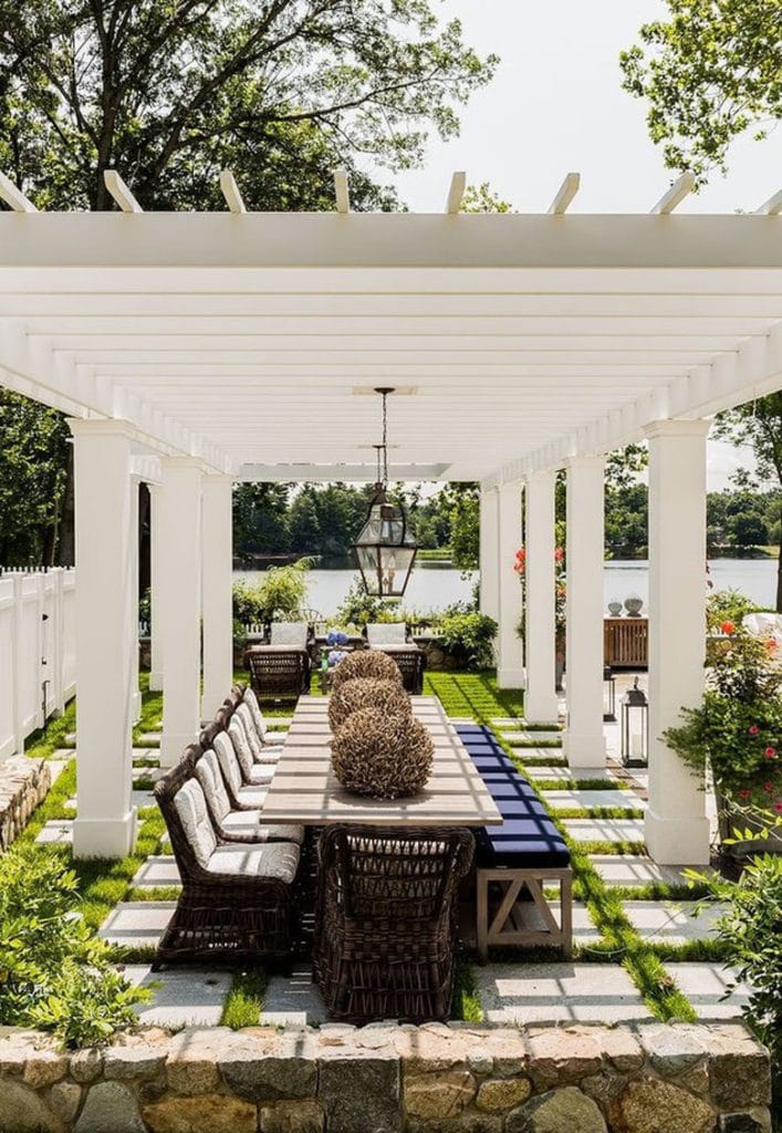 backyard garden with free standing pergola painted white