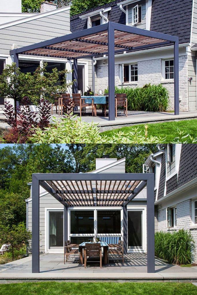 metal and wood pergola in backyard with beautiful landscaping