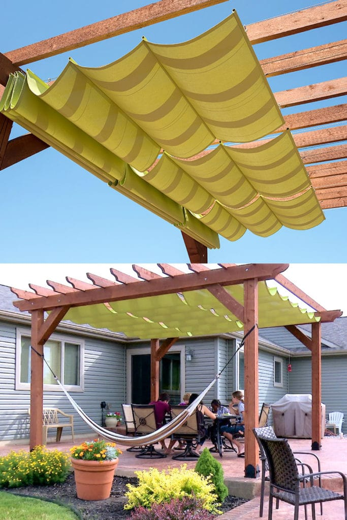pergola with fabric shade cover