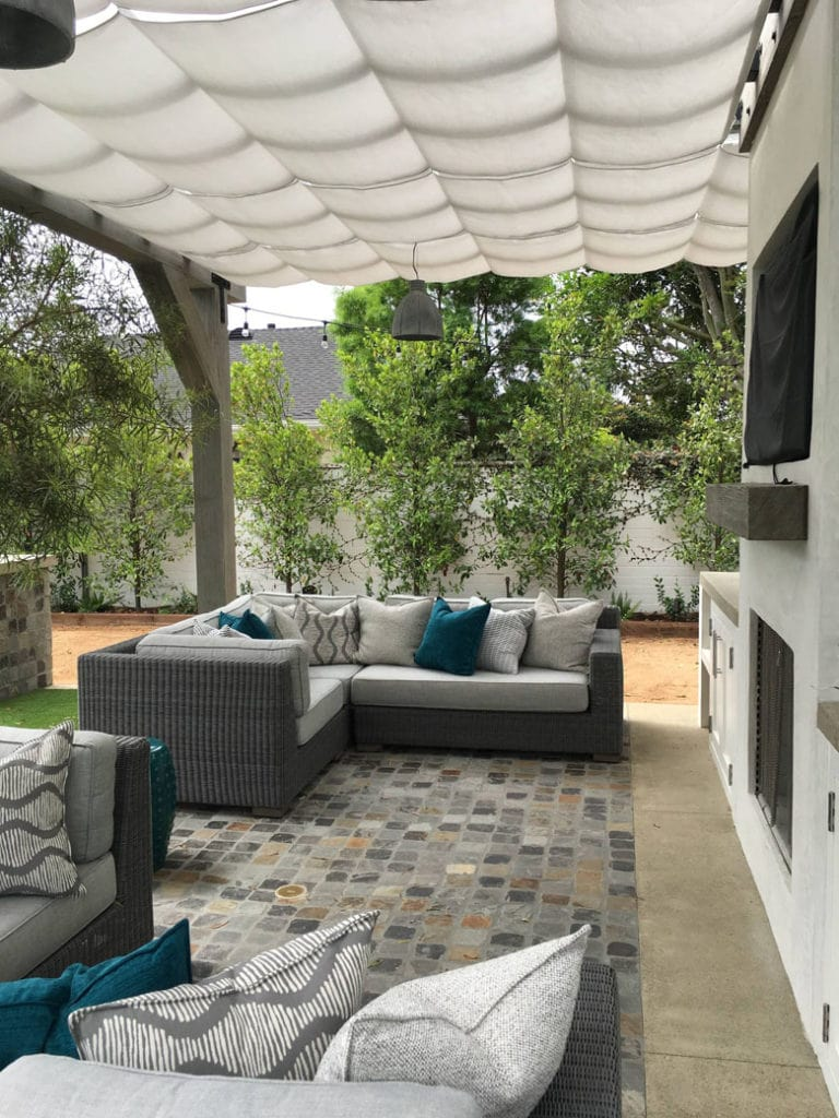 white fabric  patio cover
