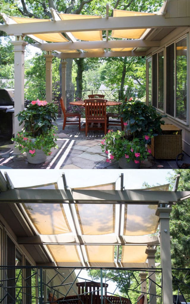 sections of fabric or shade cloth on a wood pergola patio cover