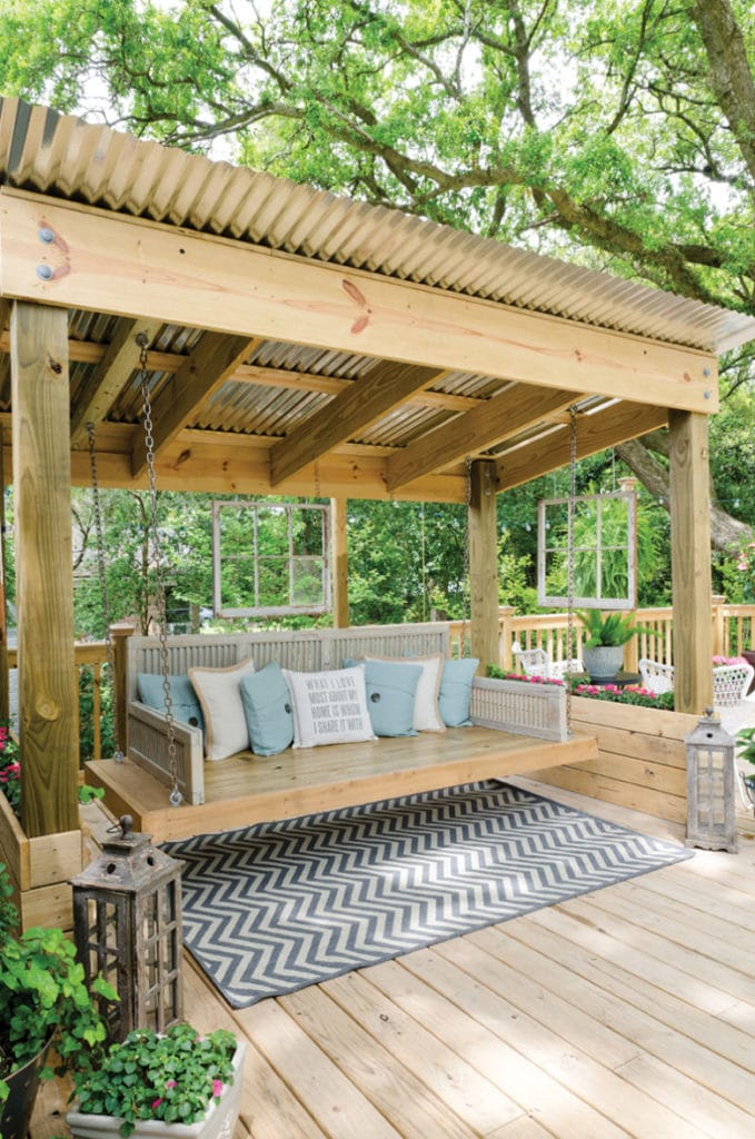 Corrugated galvanized metal for building shade structures, like this free standing pergola patio cover