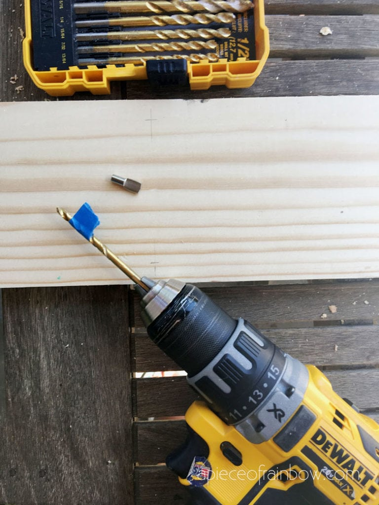Drill two holes on each line for shelf pins