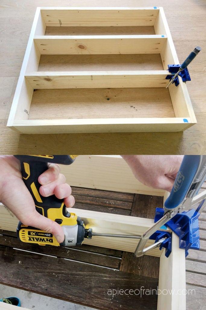 DIY display shelf using corner clamp