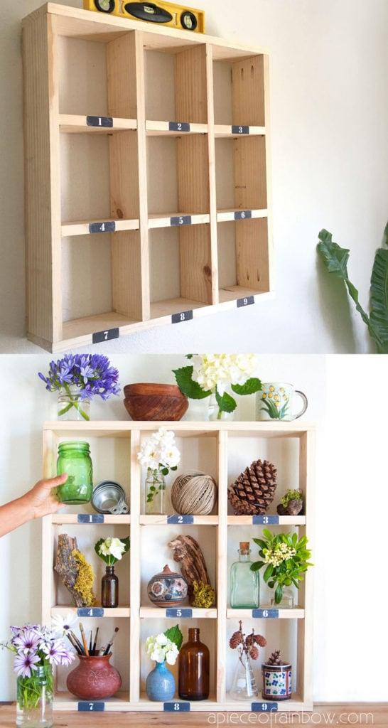 vintage farmhouse wood cubby wall shelf