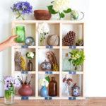 Pottery Barn inspired $15 easy DIY cubby wall shelf with free building plan & vintage chalkboard labels! A great idea for modern farmhouse display shelf, boho decor & furniture.