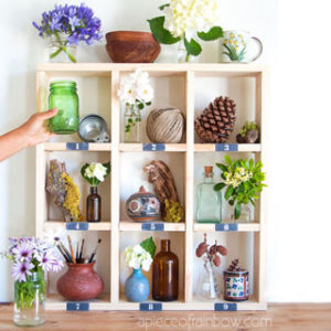 Pottery Barn inspired $15 easy DIY cubby wall shelf with free building plan & vintage chalkboard labels! A great idea for modern farmhouse display shelf, boho decor & furniture.