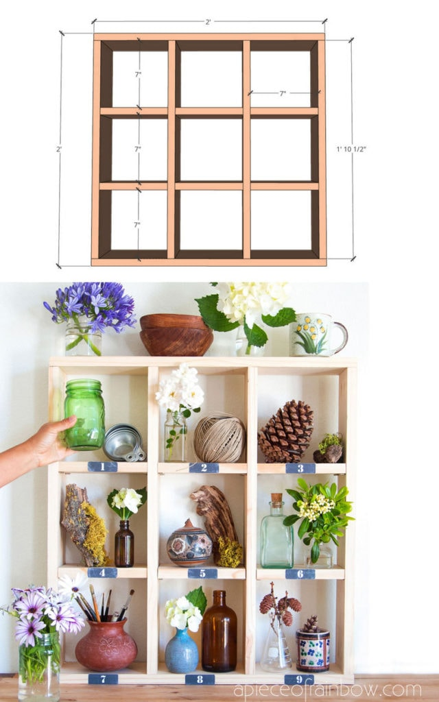free building plan for easy DIY cubby wall shelf, modern farmhouse furniture
