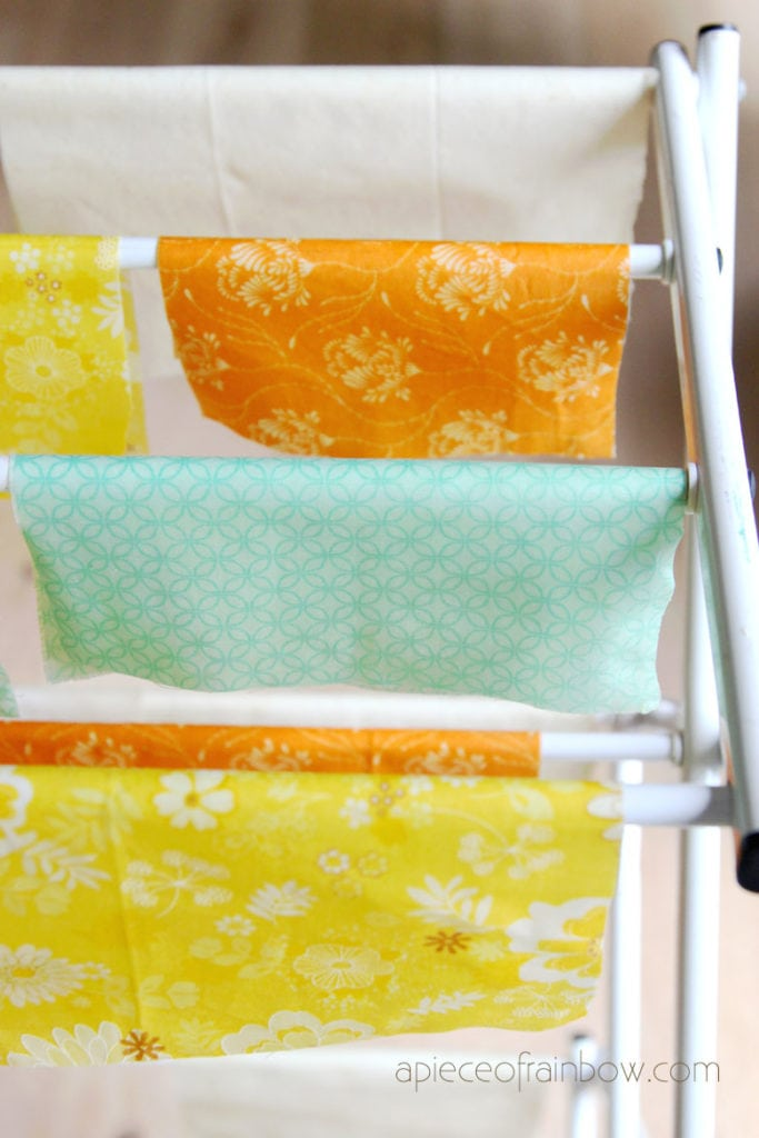 Hang beeswax wraps to cool