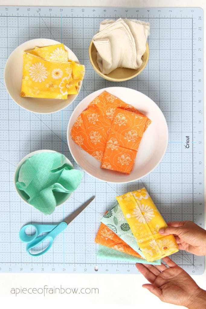 measure and cut fabrics for DIY beeswax food wraps