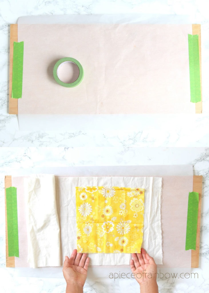 Cover a large cookie sheet or a wood board with parchment paper. Spread fabric.