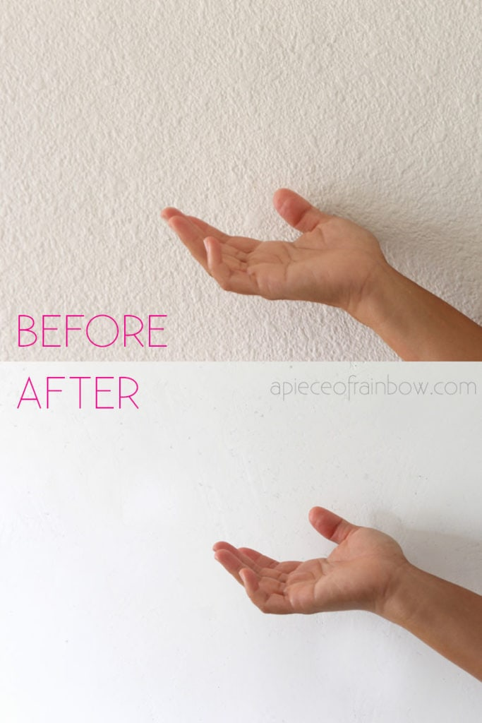 before and after: How to skim coat & smooth a textured wall, drywall or ceiling! Easy DIY home improvement & remodel project.