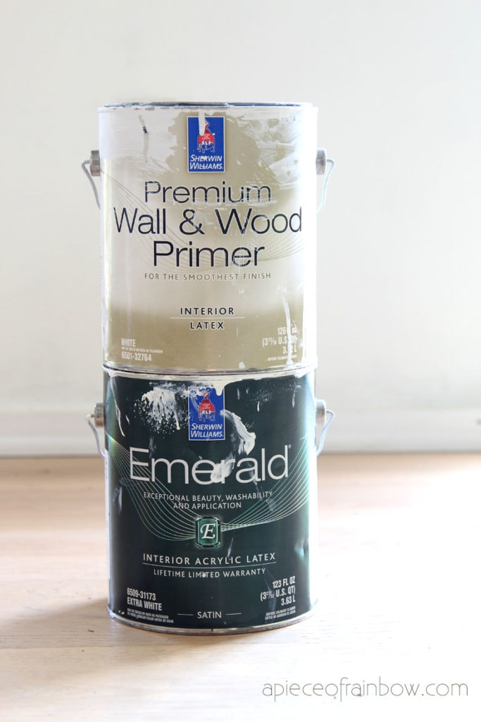 prime and paint drywall mud / joint compound with Sherwin Williams Wall & Wood primer and Emerald Latex paint