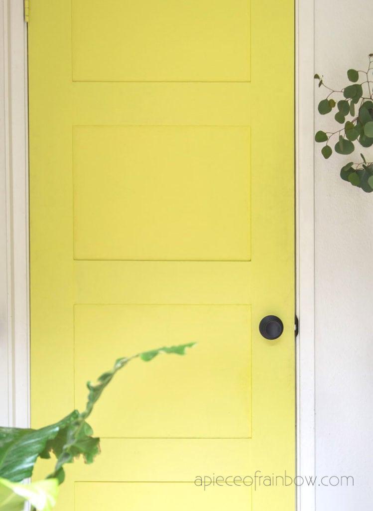 vintage chartreuse yellow painted door