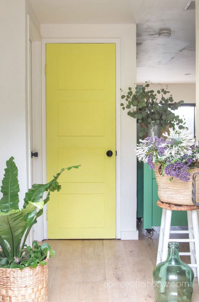 colorful door in beautiful boho and farmhouse home