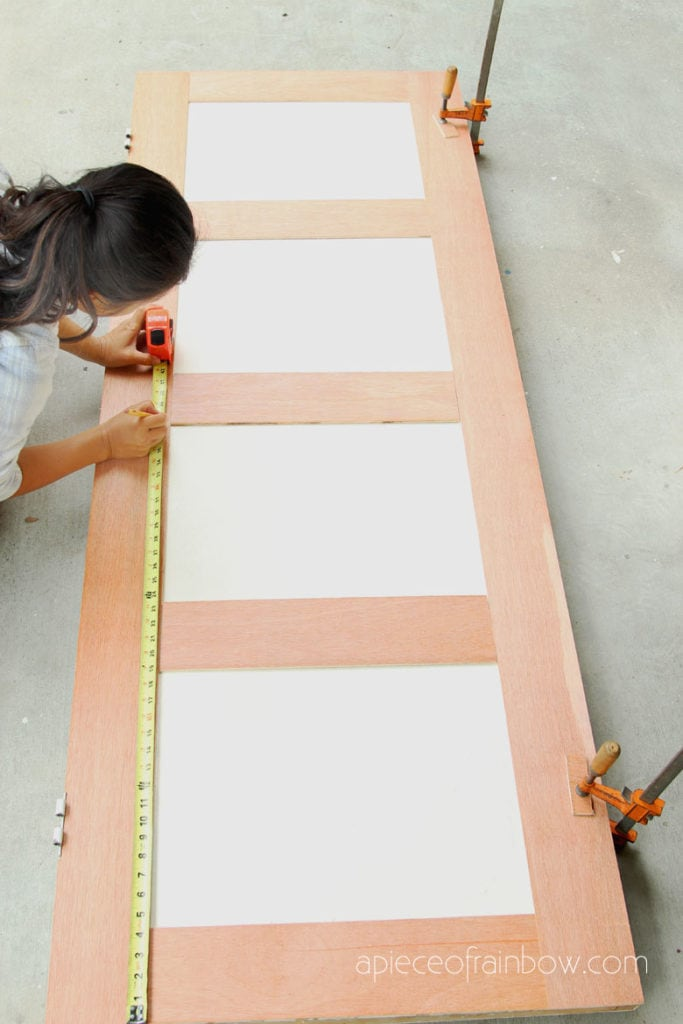 Measure and mark plywood design on hollow core door