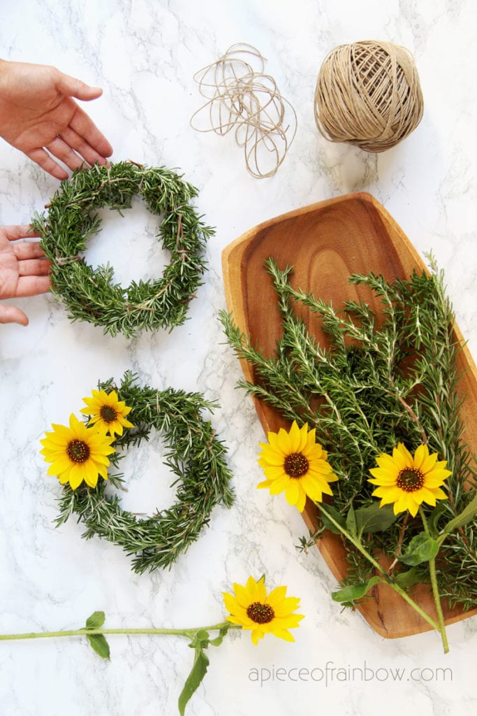 make beautiful wreaths with sunflowers and rosemary