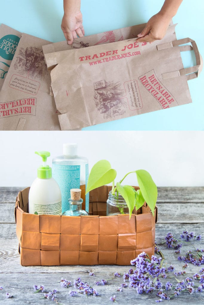 Beautiful DIY paper basket from recycled paper bags, & a secret to make paper look like leather! Easy basket weaving paper craft, boho farmhouse home decor & creative storage.