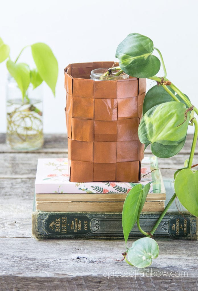 Anthropologie style DIY paper basket leather vase