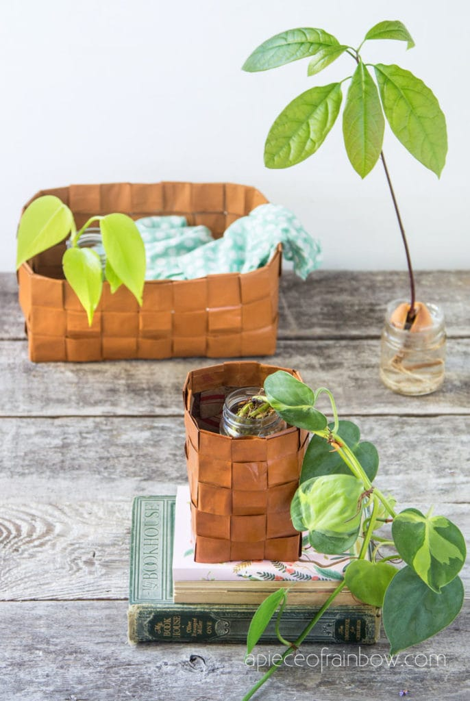 Beautiful paper baskets that look like leather, in boho farmhouse vintage decor