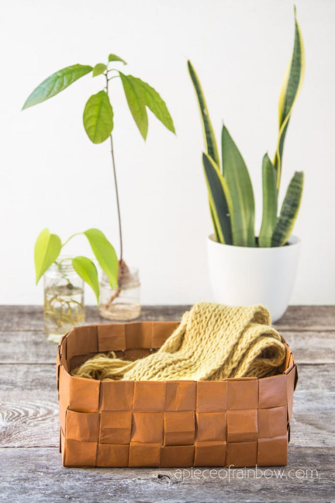 modern farmhouse West elm style faux leather storage basket made from paper bags