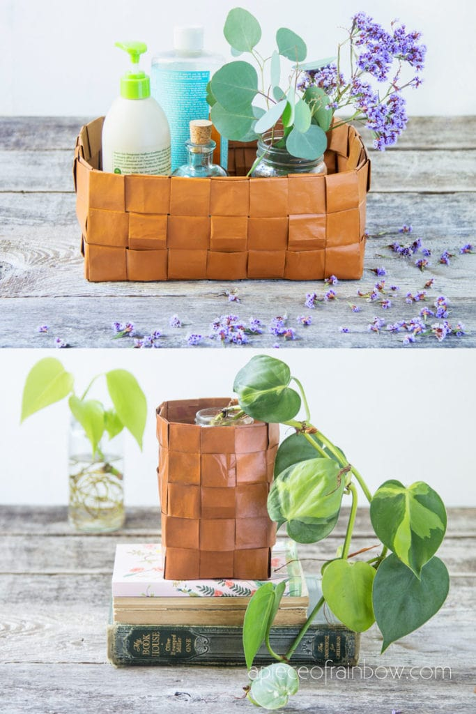 boho farmhouse home decor & organizing, beautiful faux leather DIY paper basket from recycled paper bags