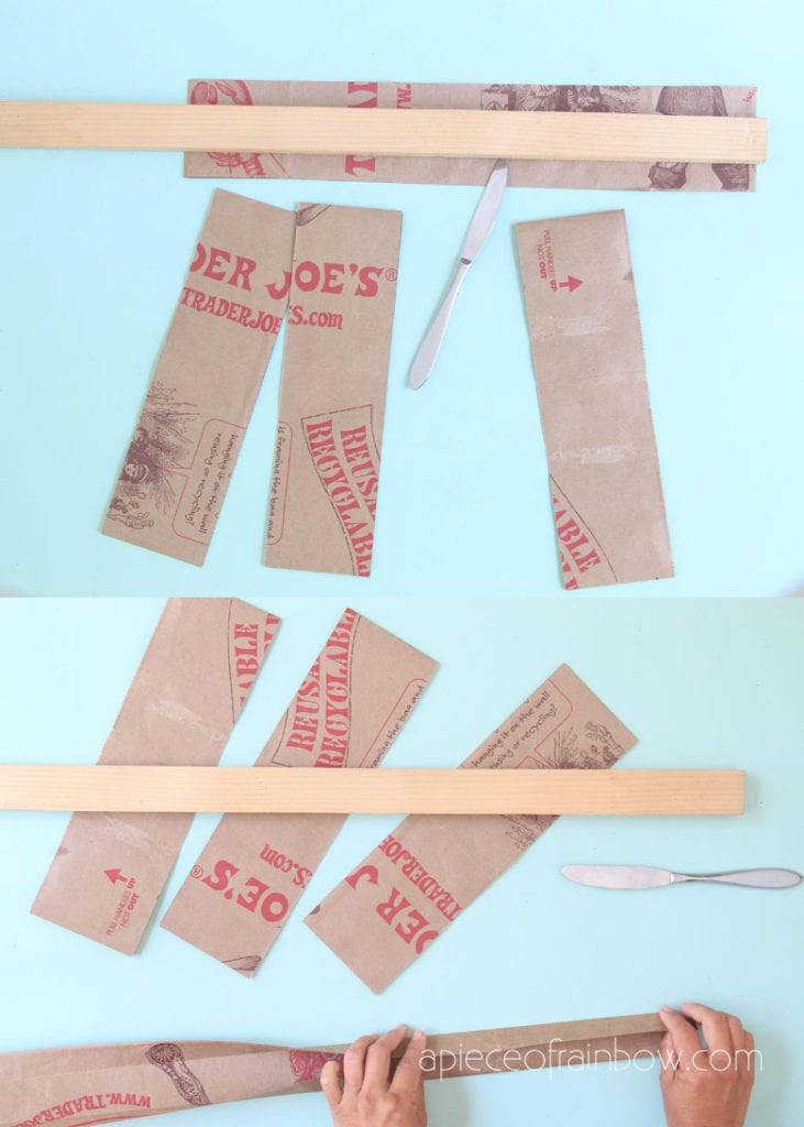 score paper strips using a butter knife and straight edge