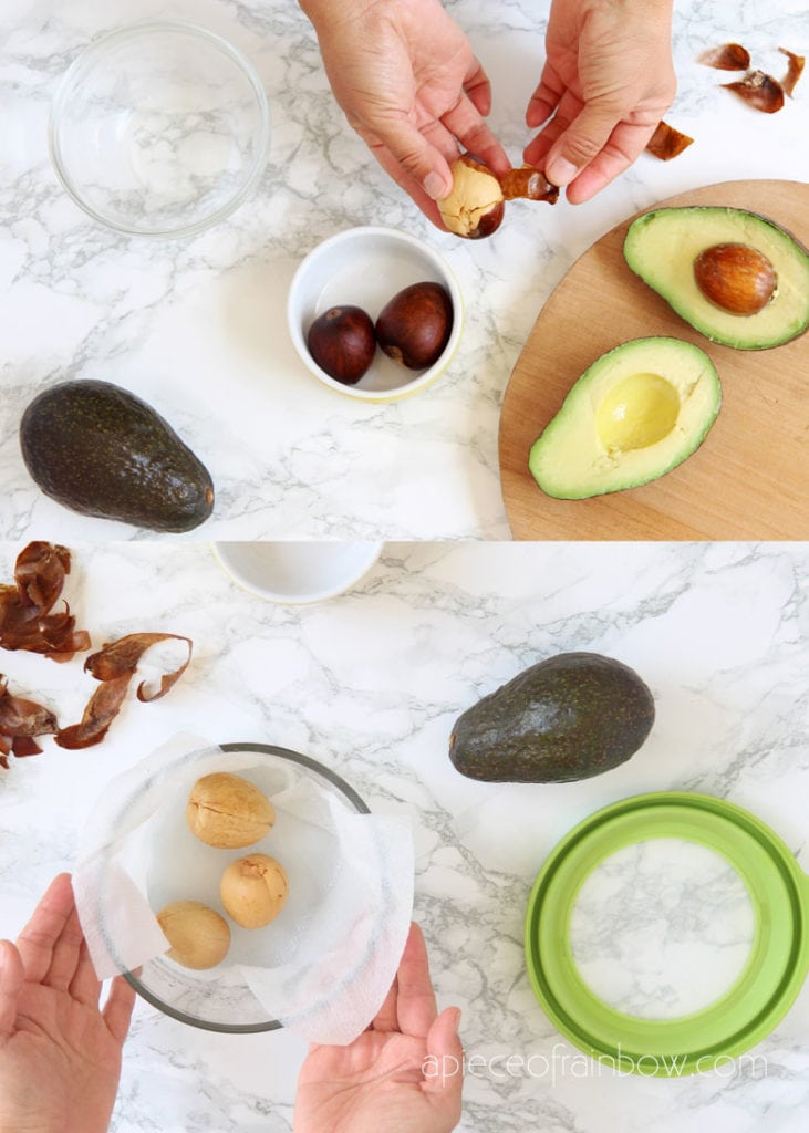 Clean the avocado seeds and peel off the skin